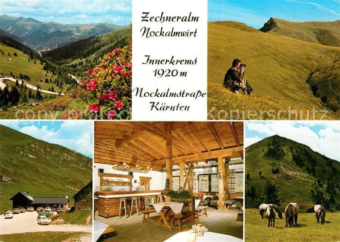 AK / Ansichtskarte Kremsbruecke Zechneralm Nockalmwirt Berggaststaette Pferde Landschaftspanorama Nockgebiet Kremsbruecke