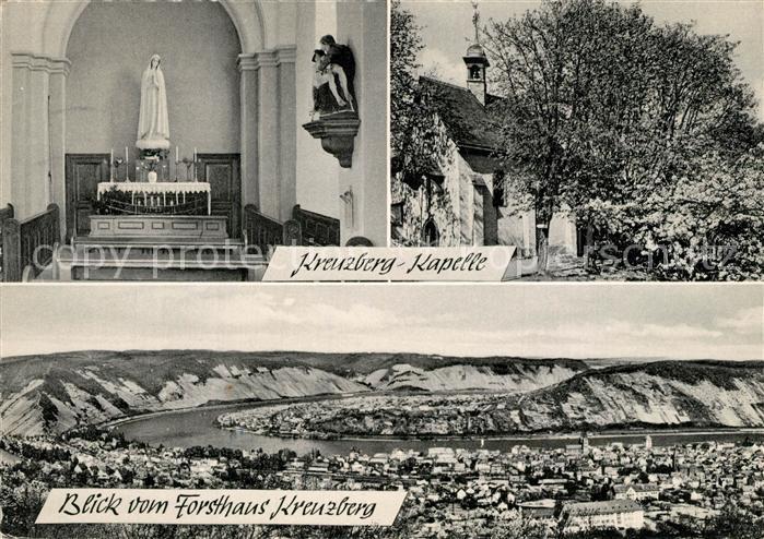 AK / Ansichtskarte Boppard_Rhein Kreuzberg Kapelle Panorama Blick vom Forsthaus Boppard Rhein
