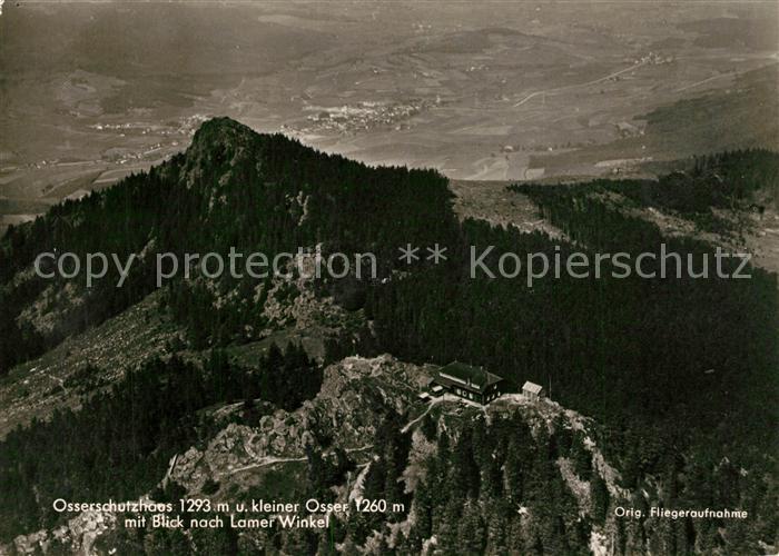 AK / Ansichtskarte Lam_Oberpfalz Osserschutzhaus kleiner Osser mit Blick nach Lamer Winkel Original Fliegeraufnahme Lam_Oberpfalz