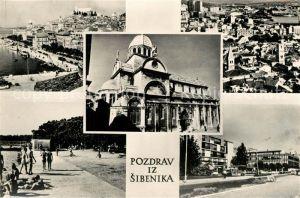 AK / Ansichtskarte Sibenik Stadtpanorama Hafen Strand Promenade Kathedrale Sibenik