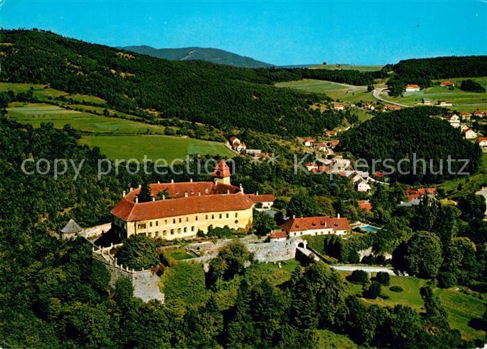 AK / Ansichtskarte Bernstein_Burgenland Burg Bernstein Hotel Restaurant Fliegeraufnahme Bernstein_Burgenland