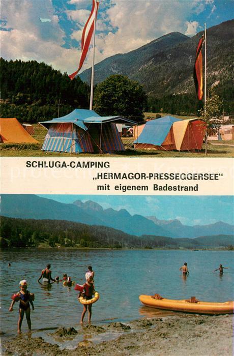 AK / Ansichtskarte Hermagor_Kaernten Schluga Camping Presseggersee Alpenpanorama Hermagor Kaernten