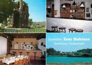 AK / Ansichtskarte Gramzow_Uckermark Klosterruine Gaststaette Zum Hufeisen Saal Gastraum Blick auf den Ort Gramzow Uckermark