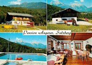 AK / Ansichtskarte Salzberg_Berchtesgaden Pension Angerer Swimming Pool Pferde Alpen Salzberg Berchtesgaden