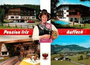 AK / Ansichtskarte Auffach Pension Iris Gastraum Swimming Pool Trachten Landschaftspanorama Auffach