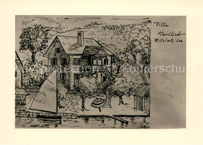 AK / Ansichtskarte Millstatt_Millstaettersee Villa Hartlieb Zeichnung Kuenstlerkarte Millstatt_Millstaettersee