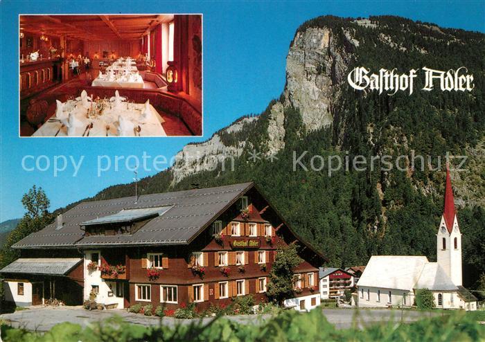 AK / Ansichtskarte Au_Bregenzerwald Gasthof Adler Kirche Alpen Au_Bregenzerwald