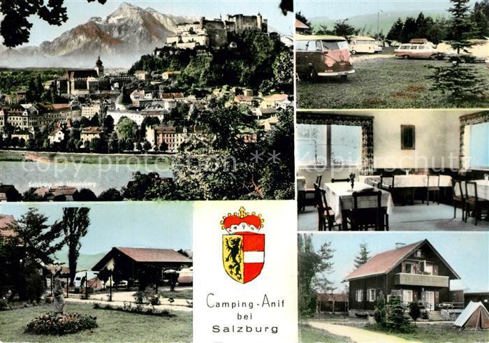 AK / Ansichtskarte Anif Camping Gaestehaus Pension Fremdenzimmer Alpen Wappen Anif