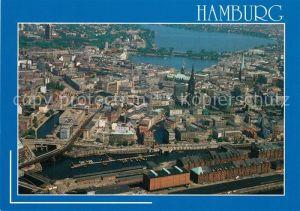 AK / Ansichtskarte Hamburg Fliegeraufnahme mit Speicher Hafen Stadt Binnen und Aussenalster Hamburg