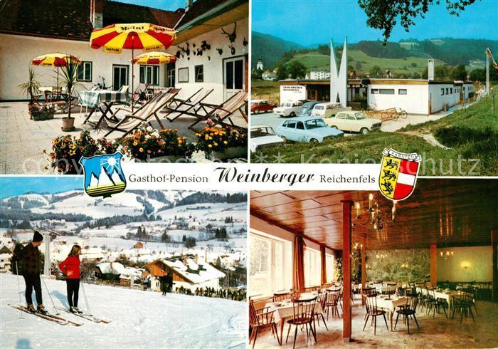 AK / Ansichtskarte Reichenfels Gasthof Pension Fleischhauerei Saal Terrasse Skipiste Lavanttal Reichenfels
