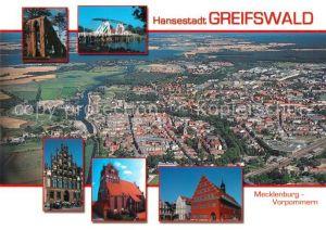 AK / Ansichtskarte Greifswald Fliegeraufnahme Klosterruine Eldena Zugbruecke Ryk Markt Rathaus Greifswald