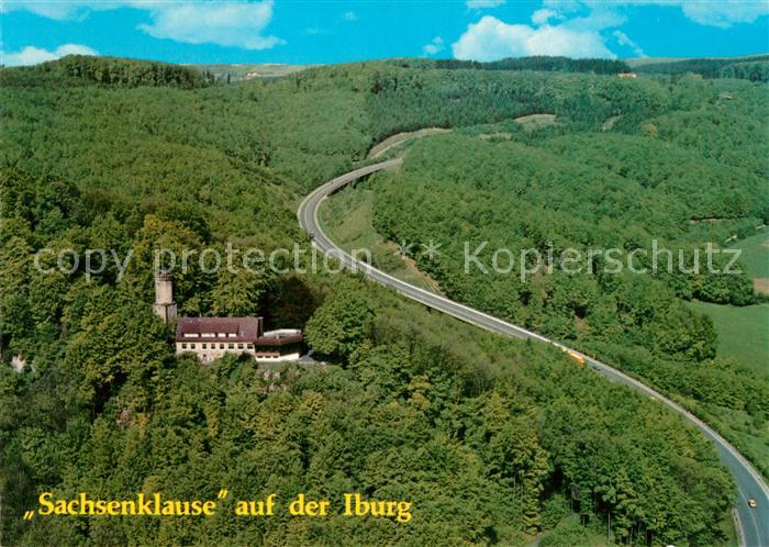 AK / Ansichtskarte Bad_Iburg Sachsenklause auf der Iburg Fliegeraufnahme Bad_Iburg