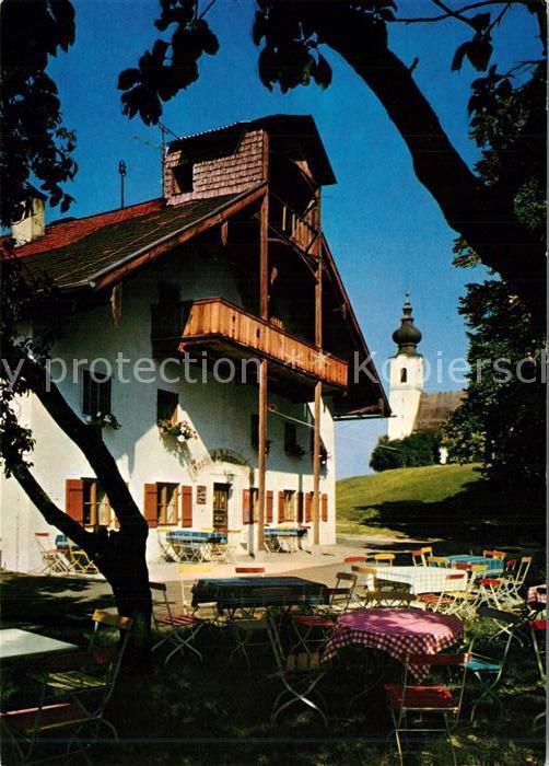 AK / Ansichtskarte Piding Gasthaus St Johannishoegl mit Kirche auf dem Hoegl Piding
