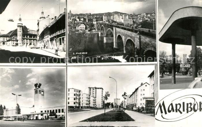 AK / Ansichtskarte Maribor_Marburg_Drau Stadtburg Drau Bruecke Siedlung Hochhaeuser Maribor_Marburg_Drau