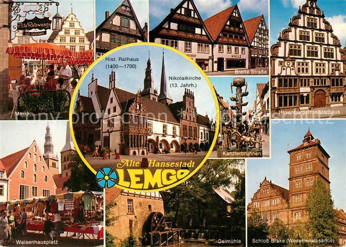 Ak Ansichtskarte Lemgo Markt Waisenhausplatz Rathaus Kirche Breite