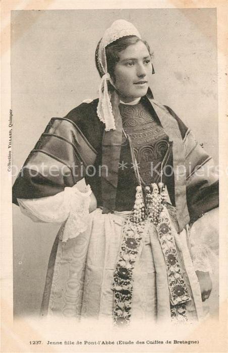 AK / Ansichtskarte Pont l_Abbe Jeune fille Etude des Coiffes de Bretagne Costumes Trachten Pont l Abbe