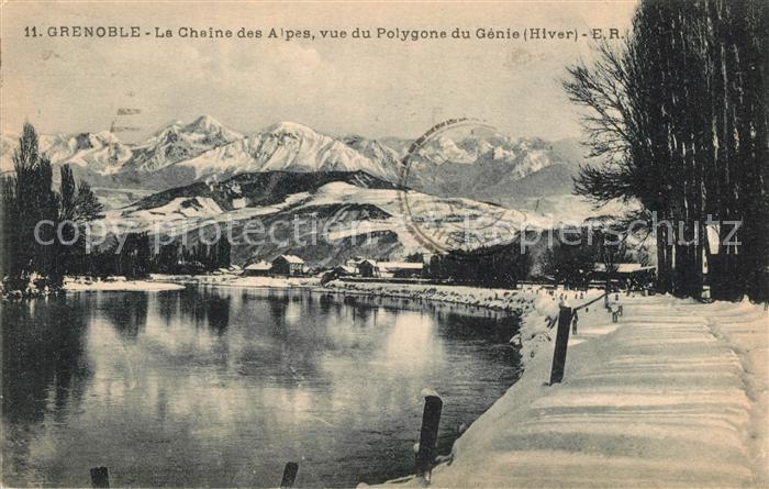 AK / Ansichtskarte Grenoble La Chaine des Alpes vue du Polygone du Genie en hiver Grenoble