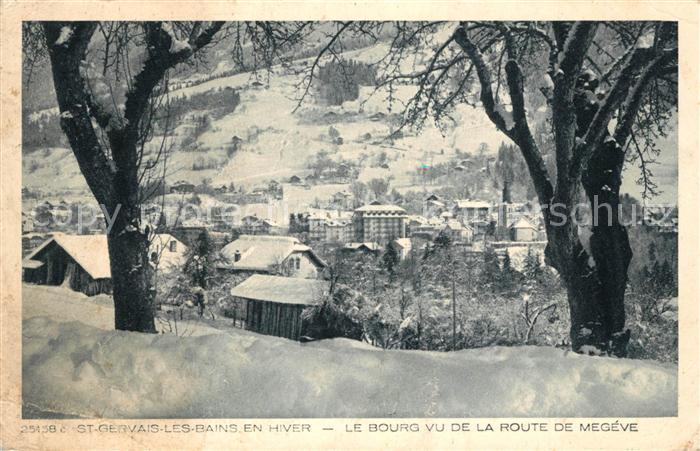 AK / Ansichtskarte Saint Gervais les Bains Le Bourg vu de la route de Megeve en hiver Saint Gervais les Bains