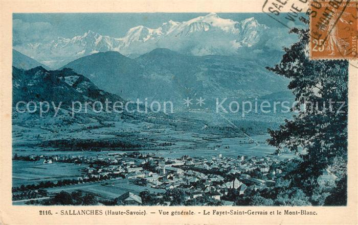 AK / Ansichtskarte Sallanches Vue generale Le Fayet Saint Gervais et le Mont Blanc Sallanches