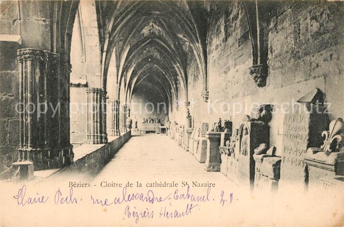 AK / Ansichtskarte Beziers Cloitre de la cathedrale Saint Nazaire Kloster Beziers