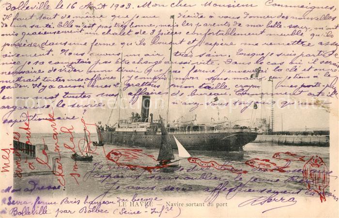 AK / Ansichtskarte Le_Havre Navire sortant du port Le_Havre