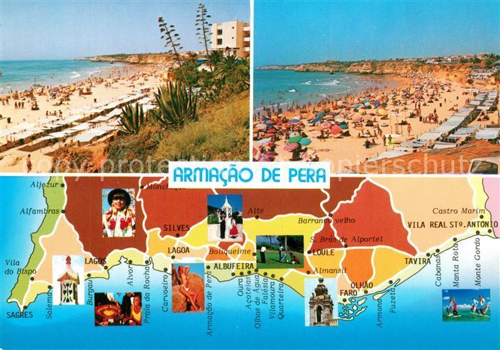 AK / Ansichtskarte Armacao_de_Pera Landkarte Algarve Strand Armacao_de_Pera