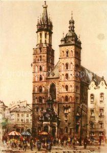 AK / Ansichtskarte Krakow_Krakau Kirche Kuenstlerkarte Krakow Krakau