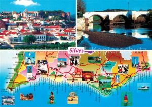 AK / Ansichtskarte Silves_Algarve Panoramakarte Stadtpanorama Bruecke Silves Algarve
