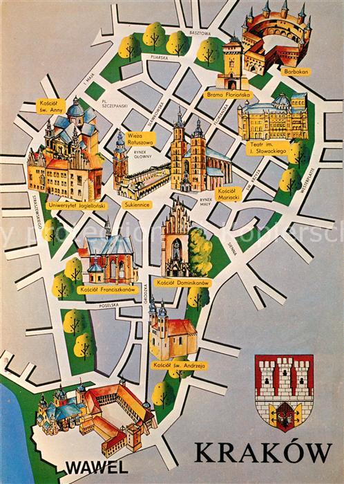 AK / Ansichtskarte Krakow_Krakau Stadtplan Krakow Krakau
