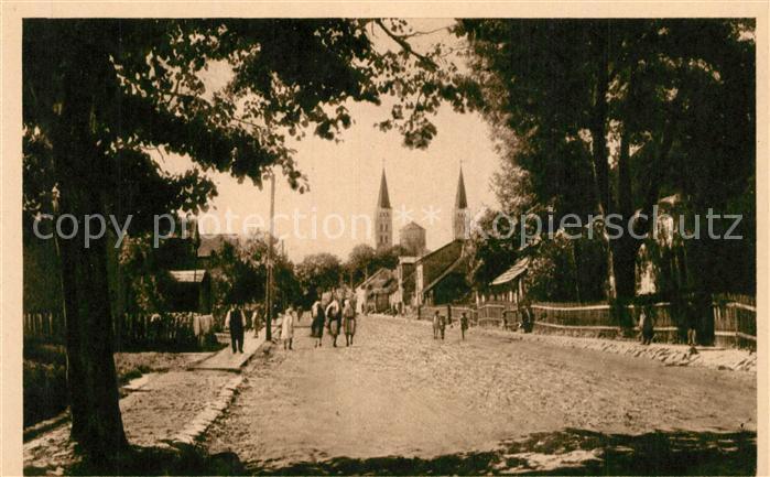 AK / Ansichtskarte Rjetawas_Rietavas Hauptstrasse Blick zur Kirche