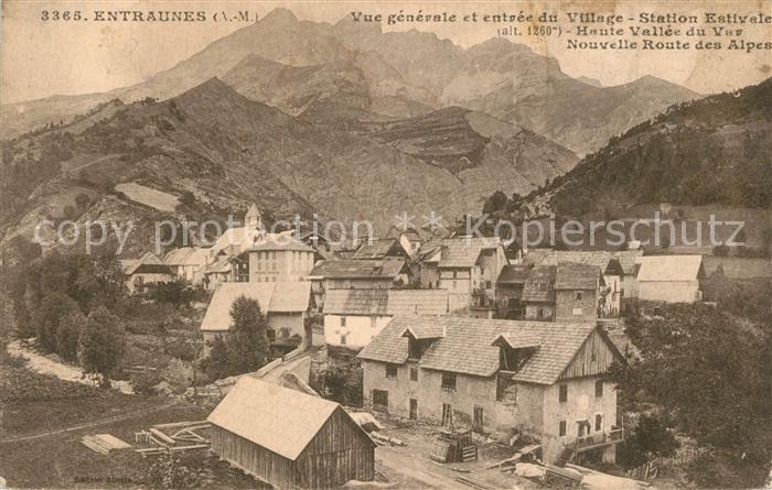 AK / Ansichtskarte Entraunes Vue generale et entree du Village Station Estivale Haute Vallee du Var Nouvelle Route des Alpes Entraunes