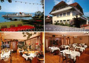 AK / Ansichtskarte Praz Hotel Restaurant Bel Air Gastraeume Schiffsanleger Praz