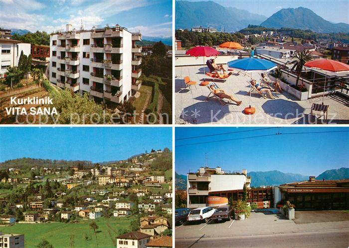 AK / Ansichtskarte Breganzona_Lugano Kurklinik Vita Sana Terrasse Panorama Breganzona Lugano