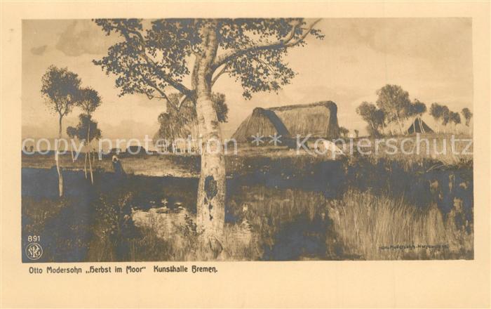 AK / Ansichtskarte Kuenstlerkarte Otto Modersohn Herbst im Moor