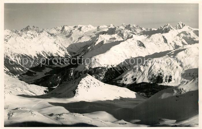 AK / Ansichtskarte Davos_Parsenn_GR Gebirgspanorama Ausblick von der Weissfluh auf die Silvretta Davos_Parsenn_GR