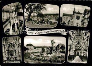 AK / Ansichtskarte Ebrach_Oberfranken Treppenhaus Abteigebaeude Klosterkirche Hochaltar Abteigarten Orgelempore Ebrach Oberfranken