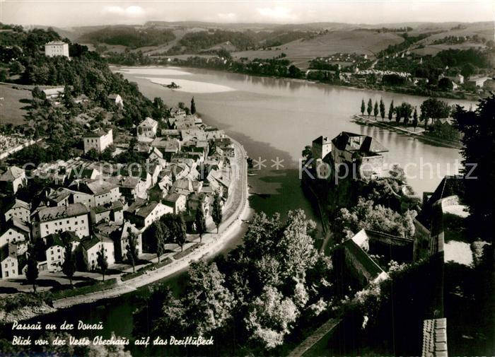 AK / Ansichtskarte Passau Blick von der Veste Oberhaus auf das Dreifluesse Eck Passau