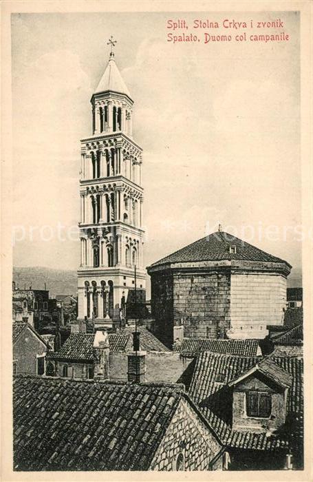 AK / Ansichtskarte Split_Spalato Stolna Crkva i zvonik Duomo col campanile Split_Spalato