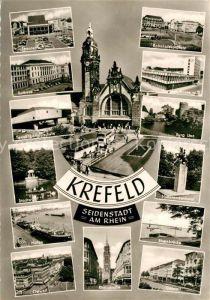 AK / Ansichtskarte Krefeld Theater Rathaus Stadwald Hafen Ostwall Bahnhofsplatz Burg Linn Husarendenkmal Rheinbruecke Rheinstrasse Krefeld