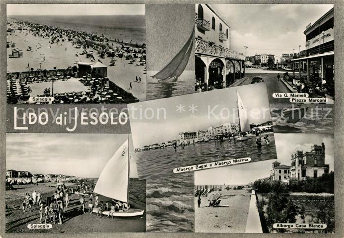AK / Ansichtskarte Lido_di_Jesolo Spiaggia Albergo Bagni e Albergo Marina Via G Mameli Albergo Casa Bianca Lido_di_Jesolo
