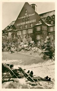 AK / Ansichtskarte Oberwiesenthal_Erzgebirge Erholungsheim Sachsenbaude der IG Wismut im Winter Oberwiesenthal Erzgebirge
