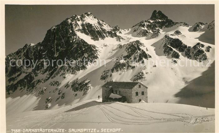 AK / Ansichtskarte Darmstaedter_Huette Berghuette mit Saumspitze und Seekopf Verwallgruppe Darmstaedter_Huette