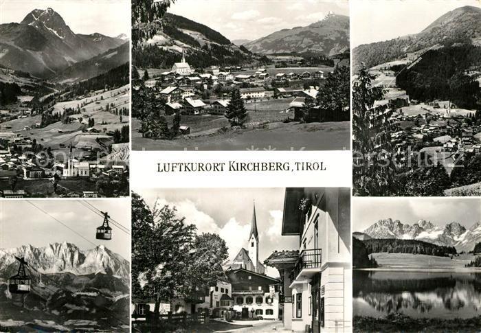AK / Ansichtskarte Kirchberg_Tirol Gesamtansicht mit Alpenpanorama See Bergbahn Ortsmotiv mit Kirche Kirchberg Tirol