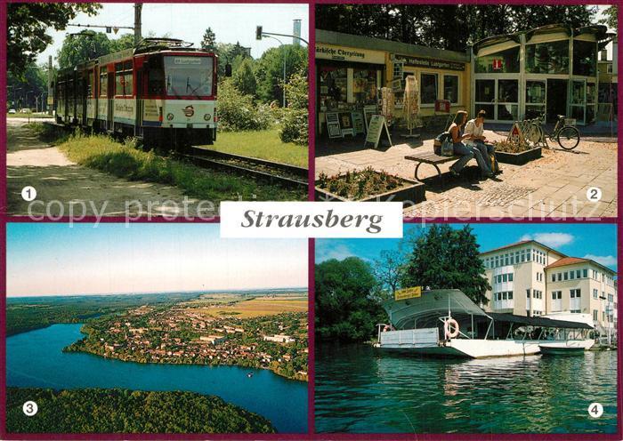 AK / Ansichtskarte Strausberg_Brandenburg Faehre Steffi Stausee Strassenbahn Kundenpavillon der STE am Lustgarten Strausberg Brandenburg