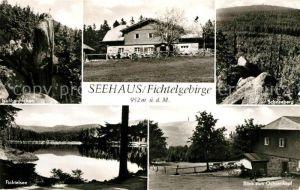 AK / Ansichtskarte Seehaus_Fichtelgebirge Berggaststaette Fichtelsee Landschaftspanorama Ochsenkopf Schneeberg Nusshardtfelsen Seehaus Fichtelgebirge