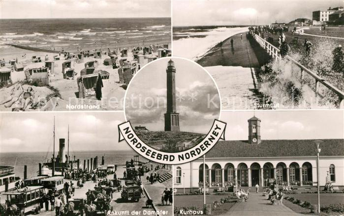 AK / Ansichtskarte Norderney_Nordseebad Nordstrand Sturmflut Leuchtturm Dampfer Hafen Kurhaus Norderney_Nordseebad