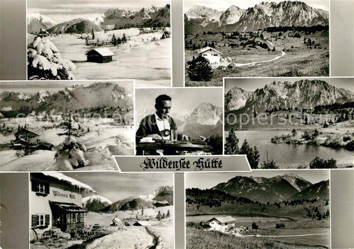 AK / Ansichtskarte Mittenwald_Karwendel_Tirol Wildenseehuette Bergsee Alpenpanorama Mittenwald_Karwendel