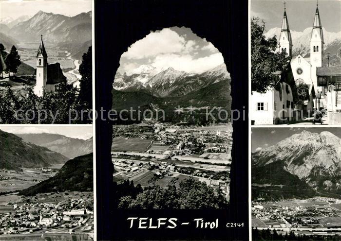 AK / Ansichtskarte Telfs_Tirol Bergkapelle Ortsmotiv mit Kirche Gesamtansicht mit Alpenpanorama Telfs Tirol