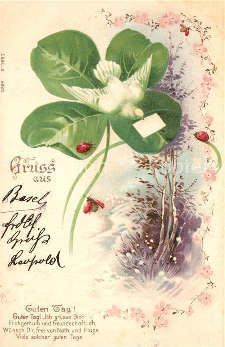 AK / Ansichtskarte Brieftaube Kleeblatt Marienkaefer Litho Gedicht