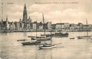 AK / Ansichtskarte Anvers_Antwerpen Panorama l Escaut le Steen et la Cathedrale bateaux Anvers Antwerpen